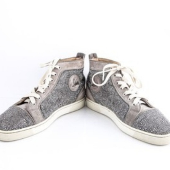 super popular e34a8 1a9d3 Christian Louboutin Strass Flat Grey Swarovski Cry